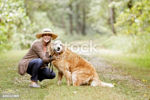 Portrait of mature woman with her pet dog model retriever.