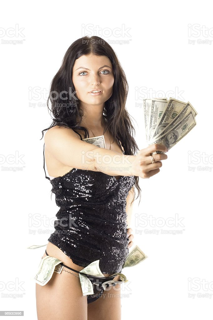 Woman with dollars. royalty-free stock photo