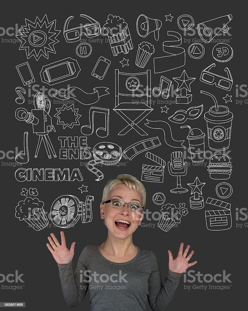 Woman with doodle cinema elements stock photo