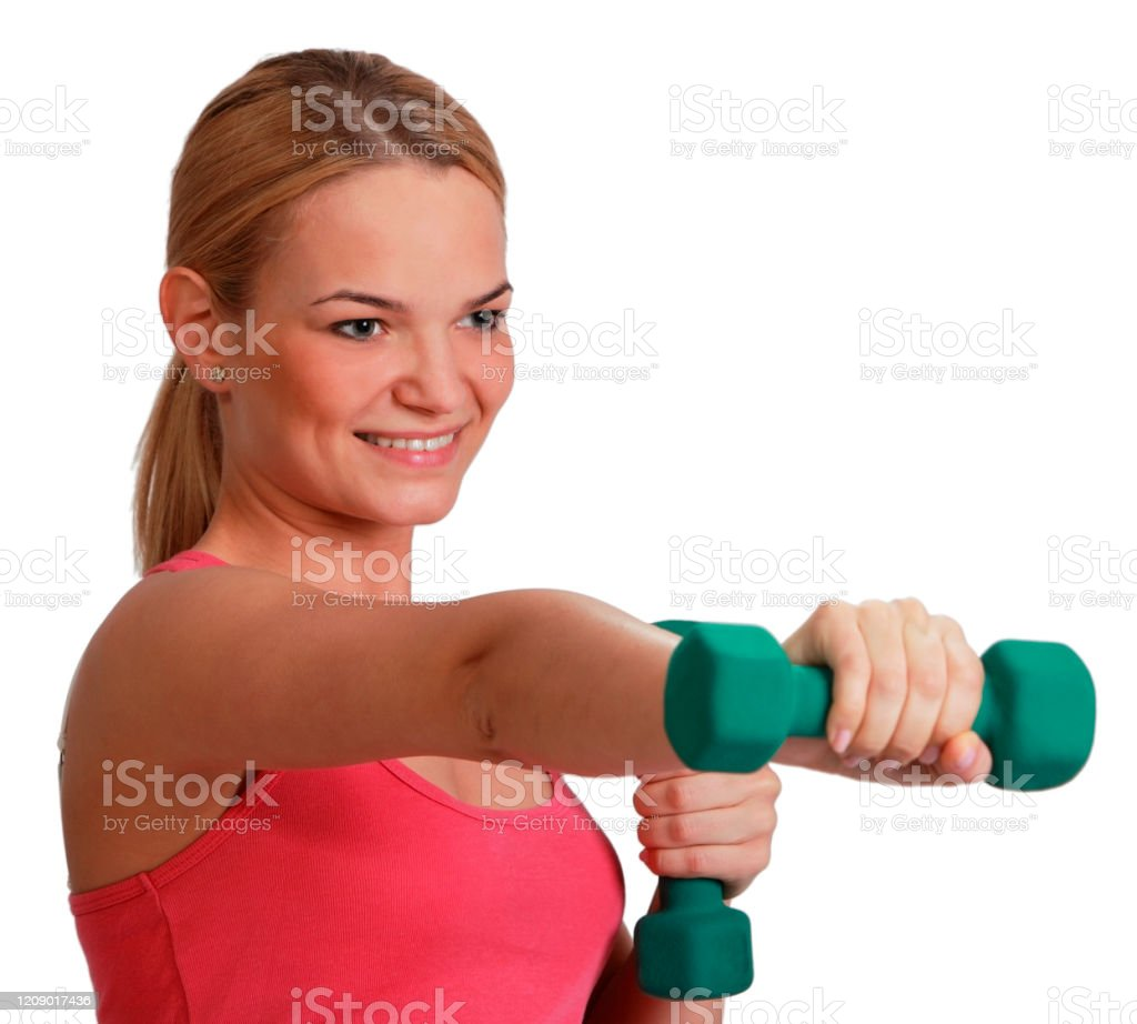 Woman with Dumbbells Portrait of a young blonde woman doing exercise with dumbbells isolated against a white background. 20-29 Years Stock Photo