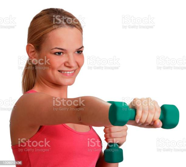 Woman With Dumbbells Stock Photo - Download Image Now