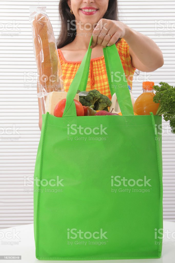 Woman With Eco-friendly Tote Bag stock photo