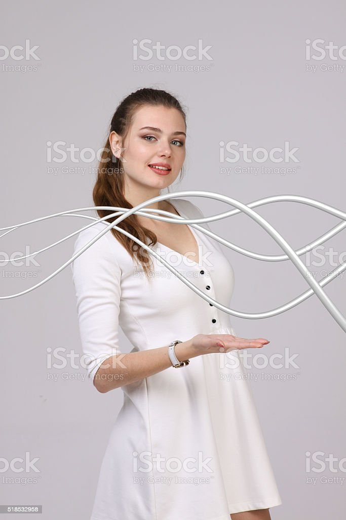 Woman With Electrical Cables Or Wires Curved Lines Stock Photo Download Image Now Istock