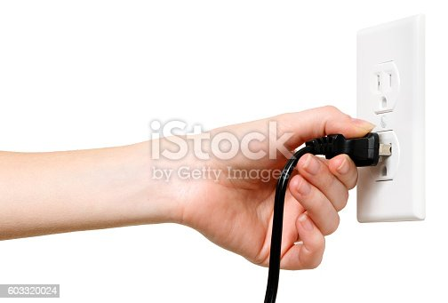 Woman with Electrical Outlet Plug on White