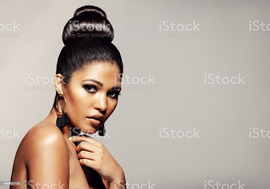 Woman with elegant hairstyle and makeup stock photo