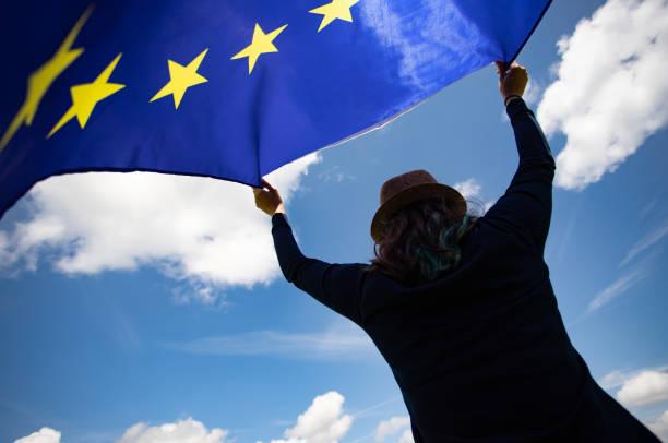 Woman with EU flag. stock photo