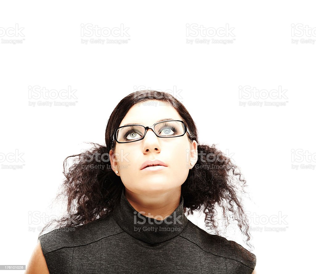 Woman With Eyeglasses Looking Upward royalty-free stock photo