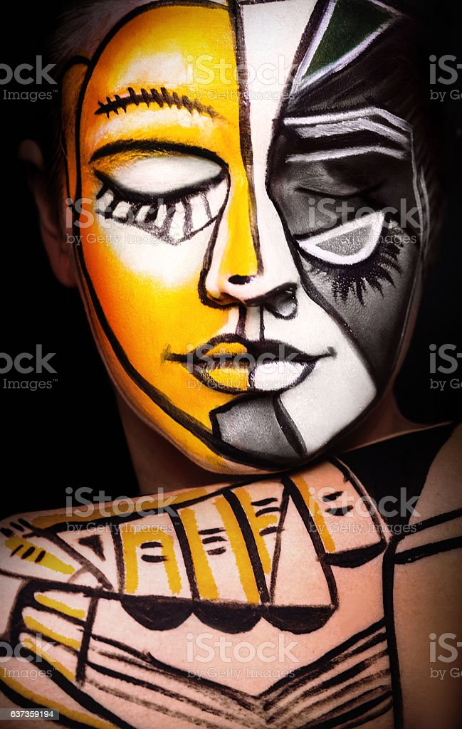 Woman with  Face art, original surrealism make-up stock photo