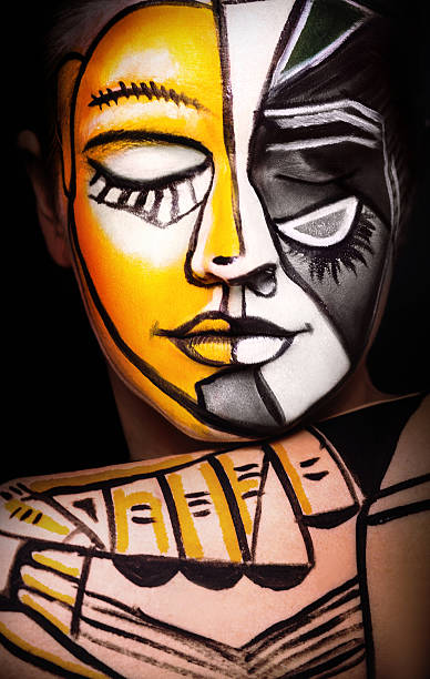 Woman with  Face art, original surrealism make-up - Photo