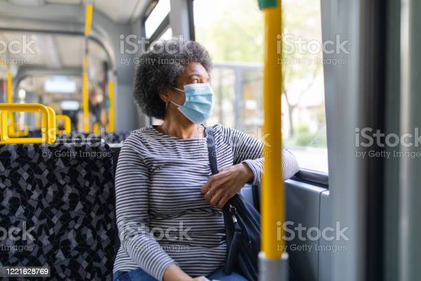 Woman With Face Mask Travelling In The Tram During Covid19 Outbreak Stock Photo - Download Image Now
