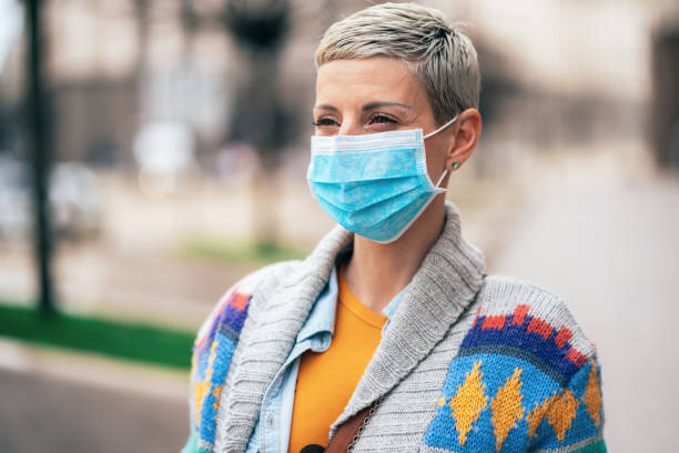 Cтоковое фото Woman with face protective mask