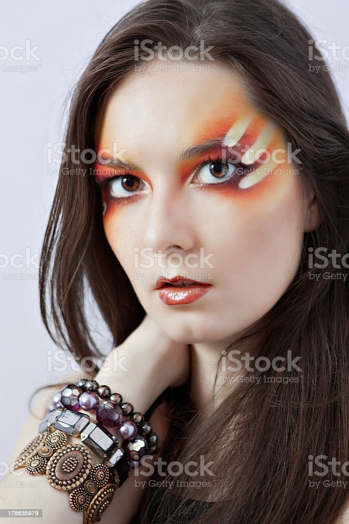 woman with fantasy red makeup royalty-free stock photo