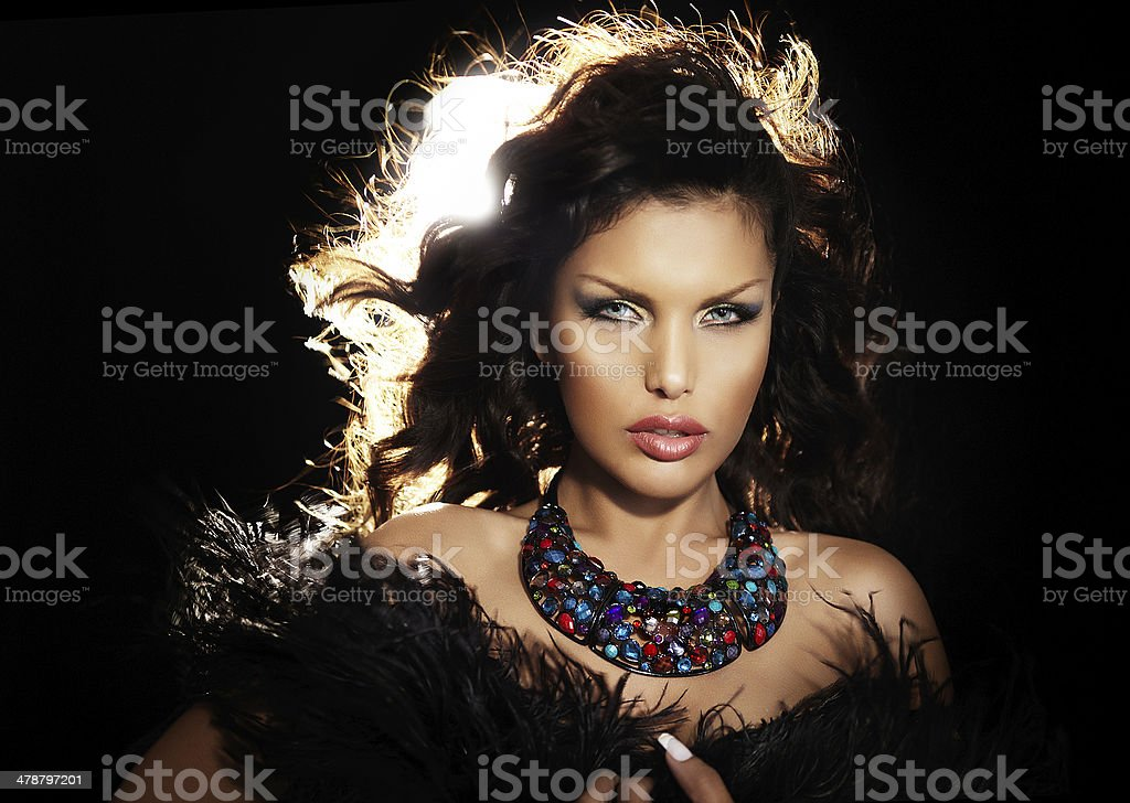Woman With Feather Shawl royalty-free stock photo