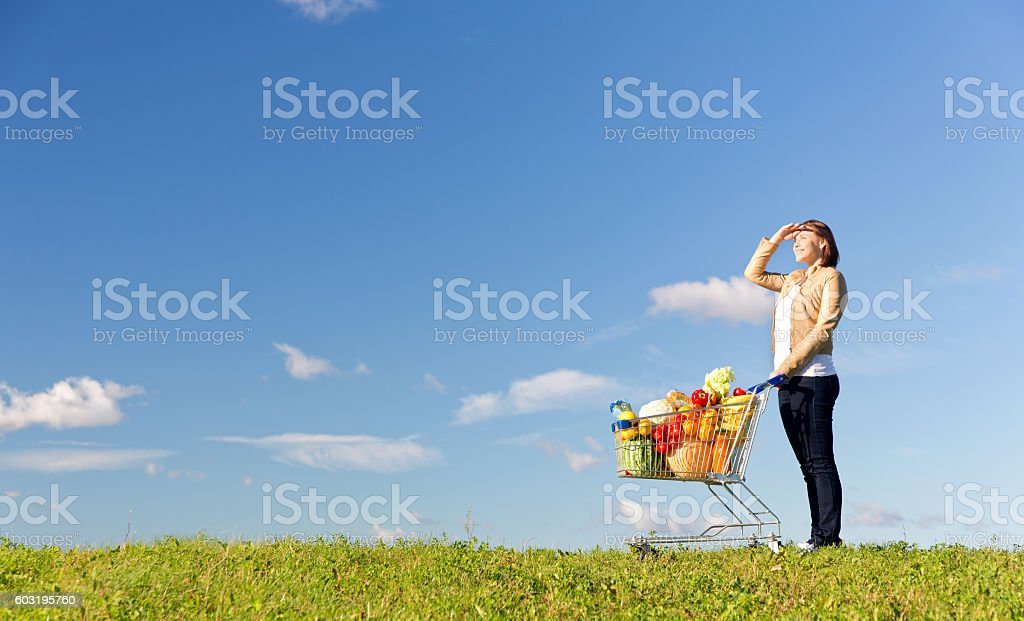 Woman with filled shopping cart with various food on meadow stock photo
