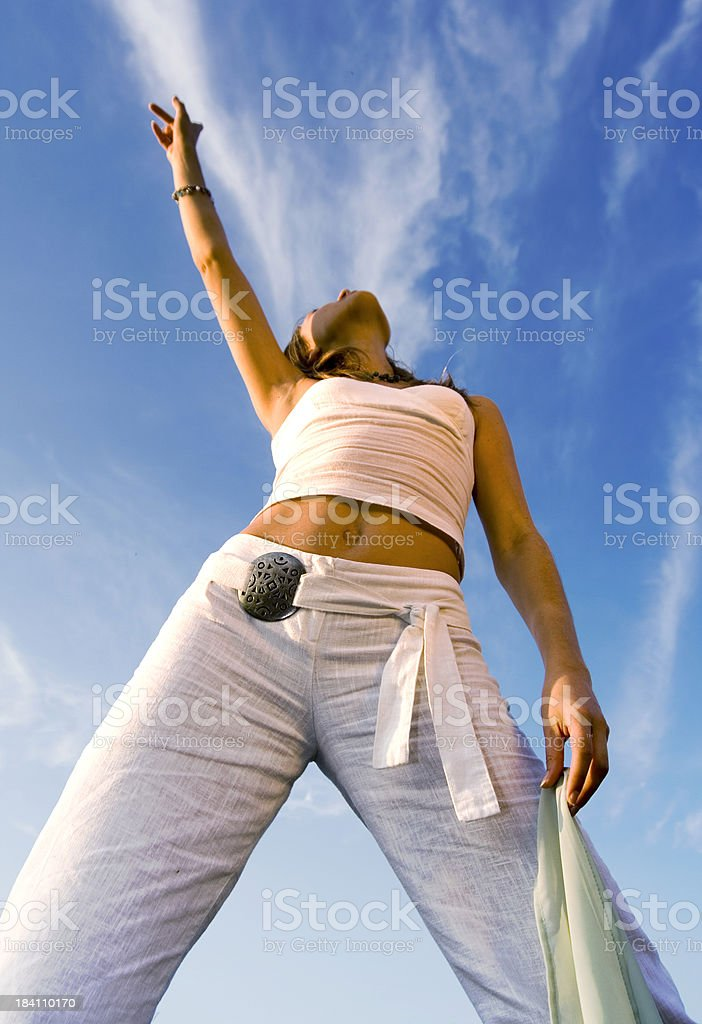 Woman with finger up stock photo