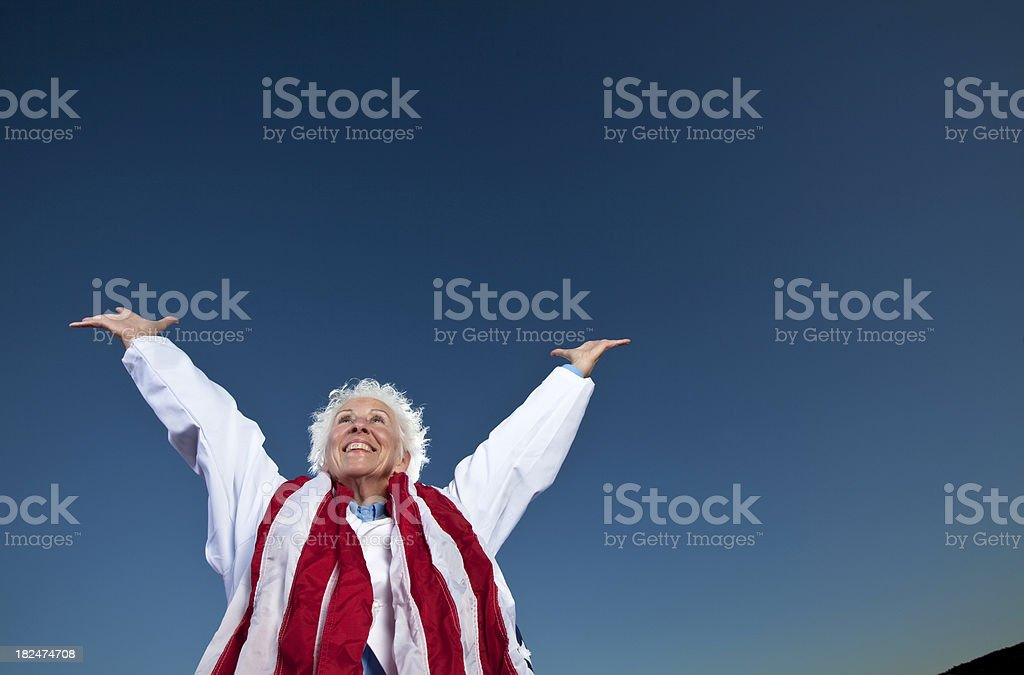 Woman with Flag stock photo
