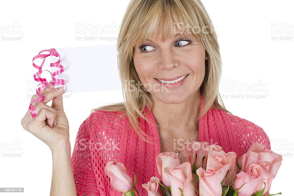 woman with flowers and card royalty-free stock photo