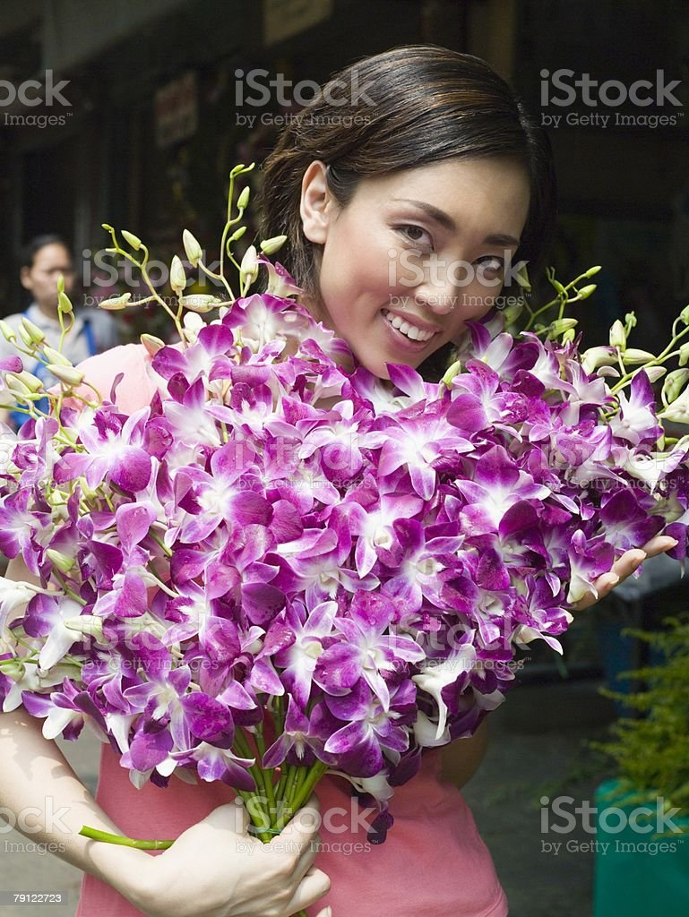 여자 꽃을 함께 royalty-free 스톡 사진