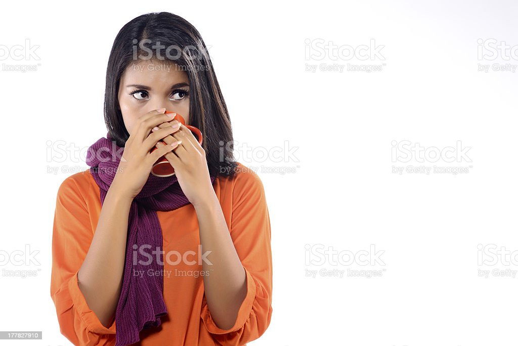 Woman With Flu Drink Hot Tea royalty-free stock photo