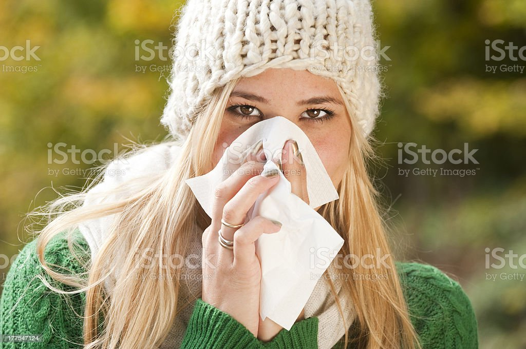 Woman with flu royalty-free stock photo
