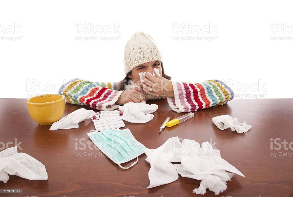 woman with flu symptoms royalty-free stock photo