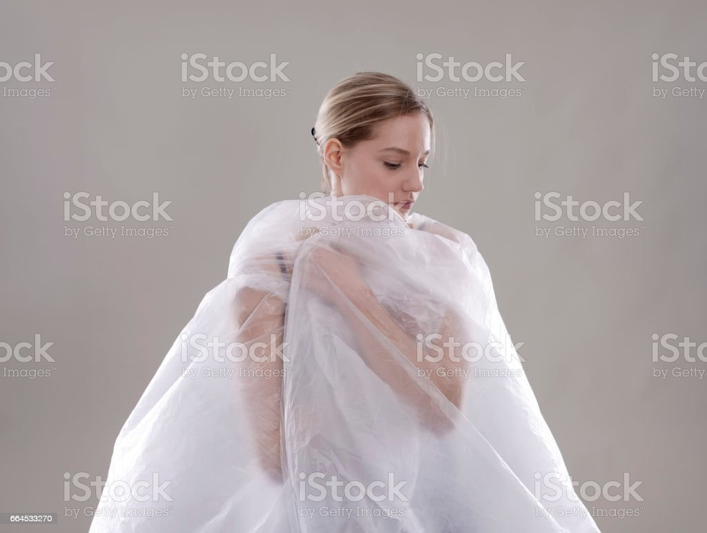 woman with foil royalty-free stock photo