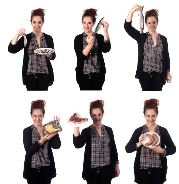 woman with food isolated on white background - burger and chicken zdjęcia i obrazy z banku zdjęć