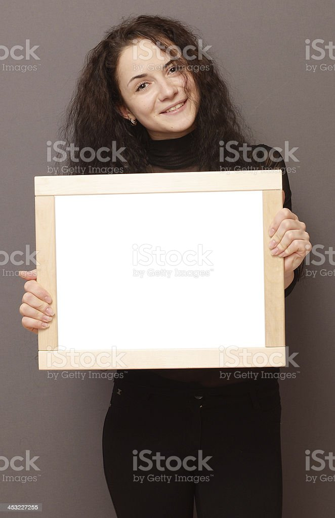 woman with frame stock photo