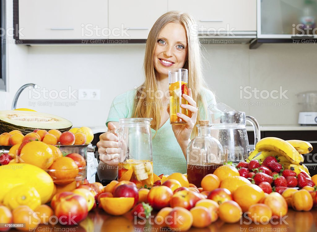 woman with fresh fruit beverage royalty-free stock photo