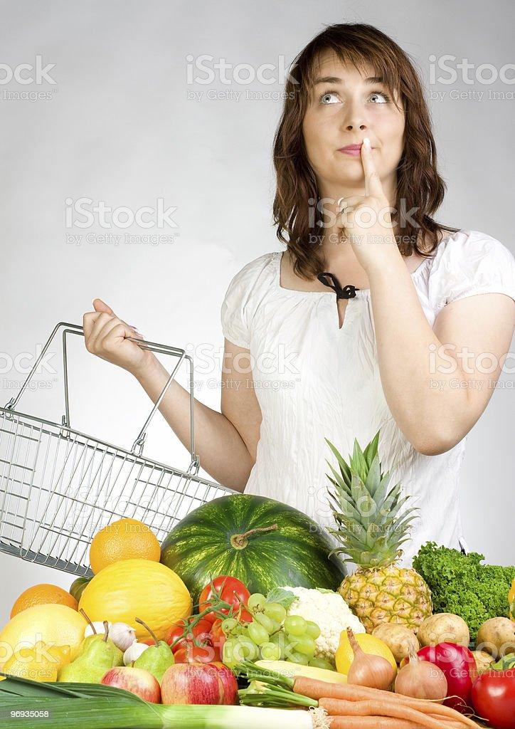 Woman with fruit & veggies royalty-free stock photo