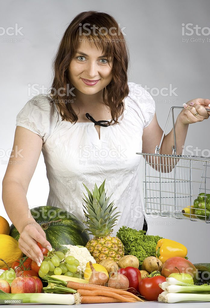 Woman with fruits vegetables royalty-free stock photo