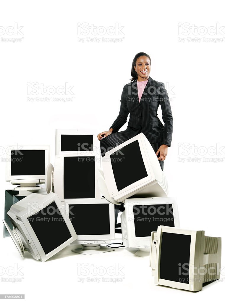 Woman with full screens royalty-free stock photo