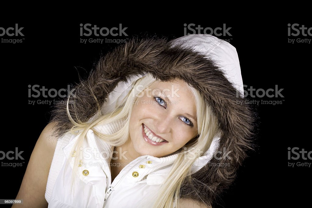 Woman with fur coat royalty-free stock photo