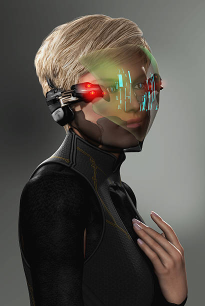 woman with futuristic hud display visor - helmet visor stock photos and pictures