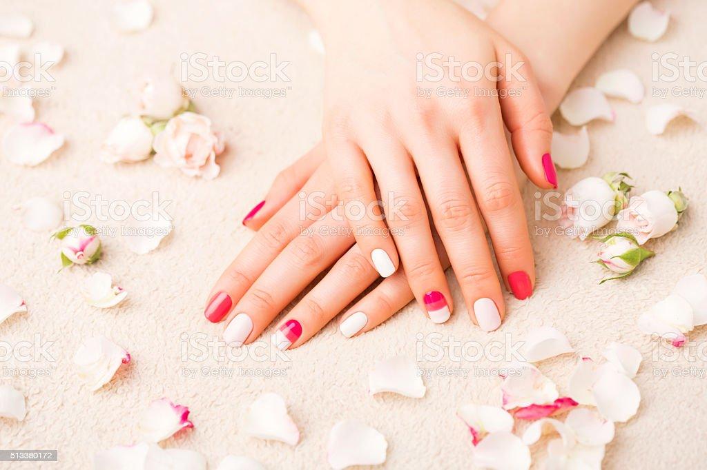 Woman with gel nail polish