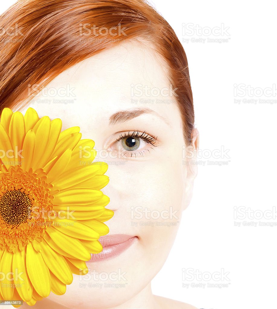 woman with gerber flower royalty-free stock photo