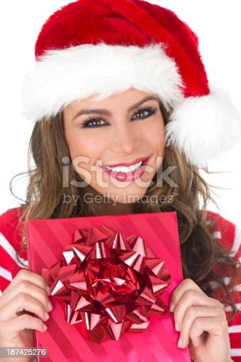455111881 istock photo woman with gift 187425276