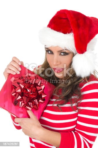 455111881 istock photo woman with gift 187425281