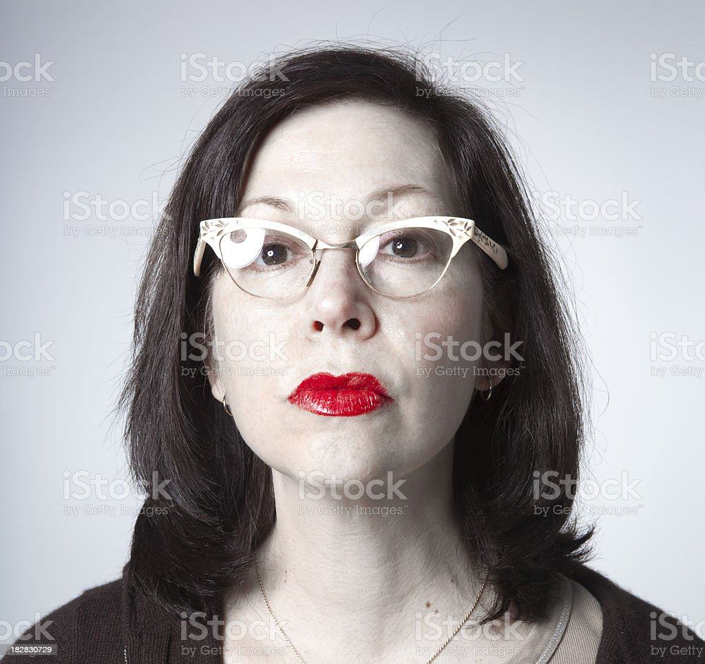 woman with glasses and red lipstick royalty-free stock photo
