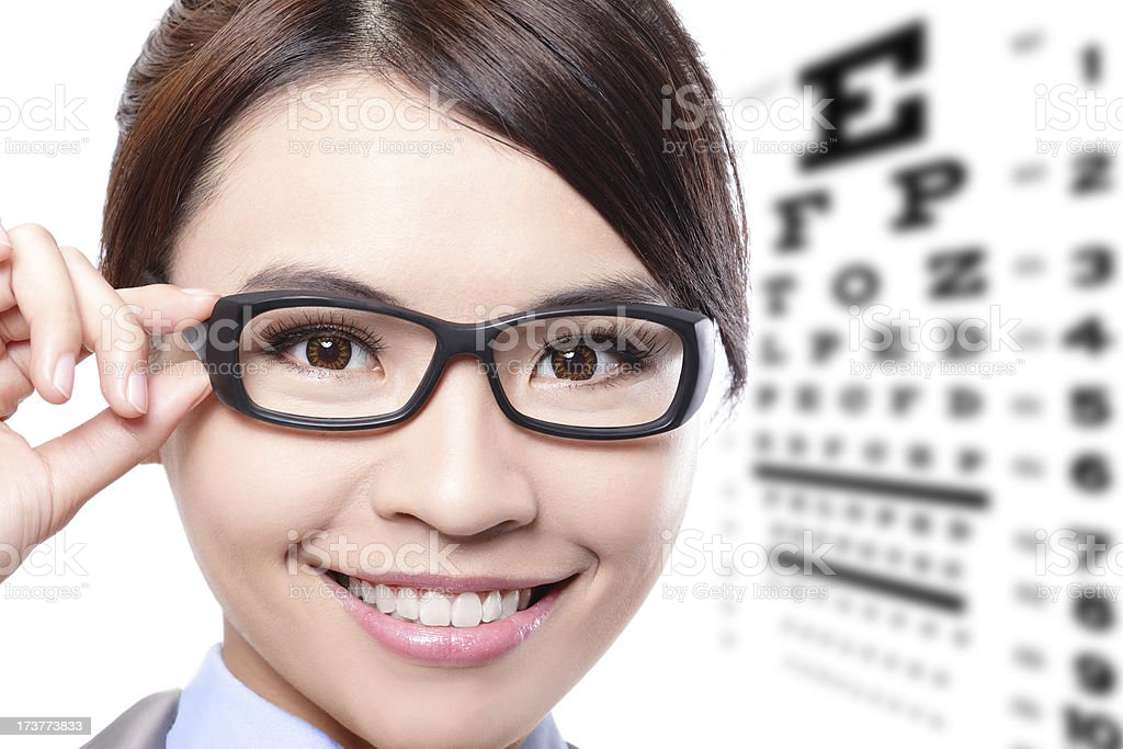 Woman with glasses in front of a eye test chart royalty-free stock photo