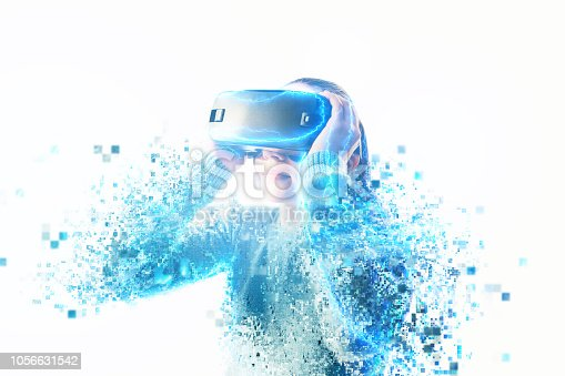 istock Woman with glasses of virtual reality. 1056631542