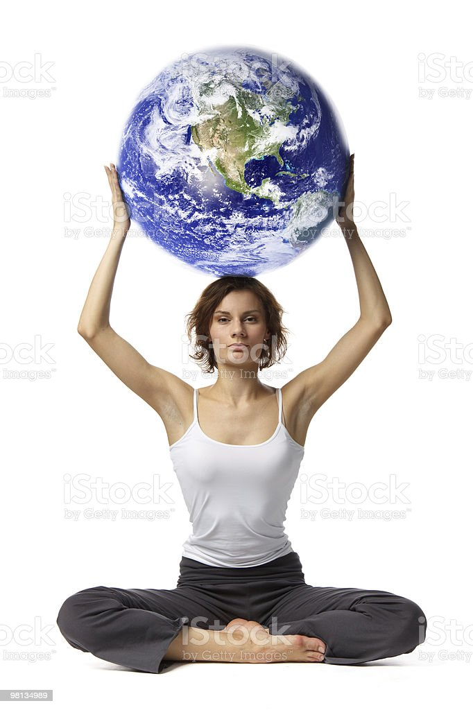 Woman with globe royalty-free stock photo