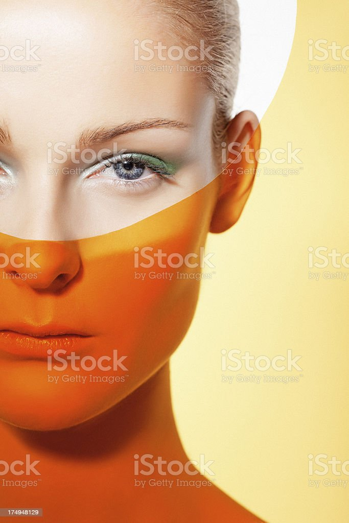 woman with green make-up royalty-free stock photo