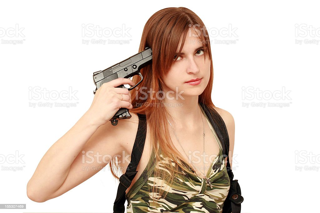 woman with gun royalty-free stock photo