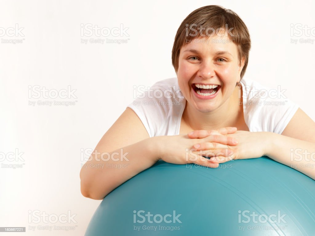 Woman with gymnastic ball royalty-free stock photo