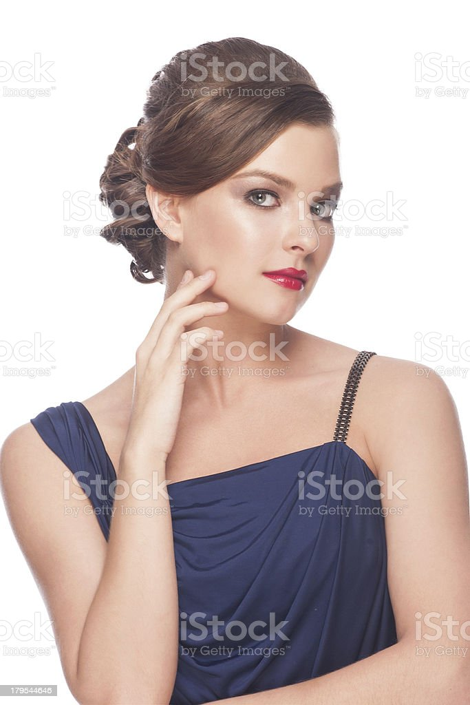 Woman with hairstyle and makeup royalty-free stock photo