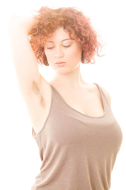 Woman with Hairy Armpit stock photo