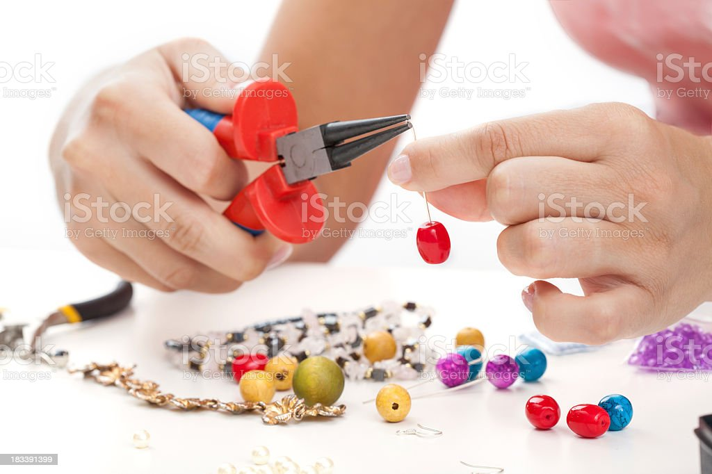 Woman with hand made jewellery royalty-free stock photo