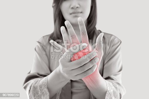istock Woman with hand pain 907899220
