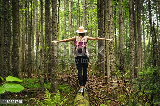 Woman traveling in nature.